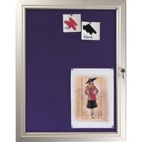 A4 x 12 Blue Pinboard Lockable Poster Case