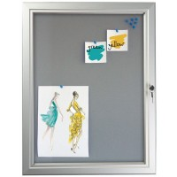 A4 x 12 Grey Pinboard Lockable Poster Case