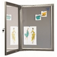 Pin Board Lockable Poster Cases with a Grey Felt Backing