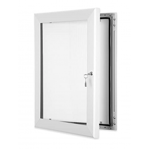 White Lockable Poster Cases