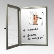 Magnetic Lockable Notice Boards with a Dry Wipe Back Panel
